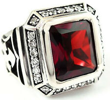 BIG KNIGHT TEMPLAR CROSS RING Sz 14 RED RUBY DIAMOND STERLING 925 SILVER JEWELRY