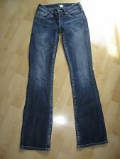 Women's Distressed SILVER Aiko Thick Stitch Boot Cut Jeans - Size 25W  33L