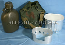4 Pc 1 QUART CANTEEN KIT w/ 1QT Woodland Camo COVER & ALUMINUM CUP, STOVE NEW