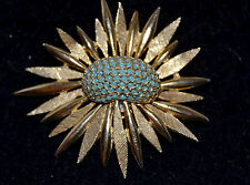 Vintage Hattie Carnegie Gold Tone Flower Starburst Brooch Pin Blue Milk Glass