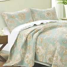 NAOMI SPA Full Queen QUILT SET :  GREEN FLORAL BIRDS COTTAGE REVERSIBLE STRIPE