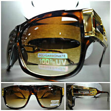 Mens CLASSIC RETRO VINTAGE HIP HOP Style SUNGLASSES SHADES Tortoise & Gold Frame