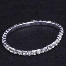 115 - Stretch silver rhinestone single row tennis bracelet fashion jewellery O/s
