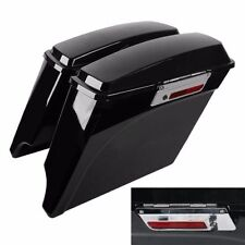 "Vivid Black Extended Hard Saddlebags For Harley Road King 1993-2013 4"" cut New"