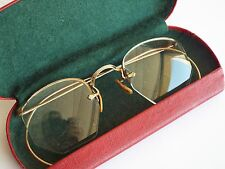 Antique Bausch & Lomb 1/10 12k Gold Filled Semi-Rimless Wire Eye Glasses Case