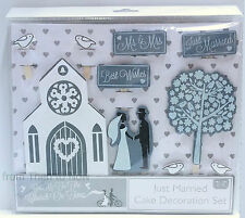 Wedding Cake 10pc Wooden Decoration Set Bride Groom Church Doves Vintage Toppers