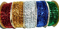 TOP QUALITY METALLIC TINSEL WIRE RIBBON 7MM, VARIOUS COLOURS, 5 METRES, FREE P&P