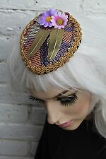 METAL FEATHER CHAIN MAIL DAISY TEAR DROP FACINATOR HAT ALT PASTEL GOTH