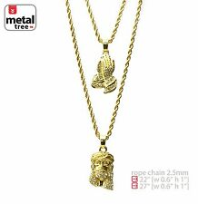 "Solid 14K Gold Plated Jesus & Pray Hand 22""&27"" Combo Pendant Necklace MHC 201 G"