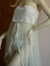 1X Plus Size Lingerie Super Sheer  see through Ivory Long Gown + Thong Panty 1X