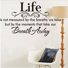 DIY Quote Life Breath Away Wall Sticker Vinyl Decal Bedroom Art Decor Removable