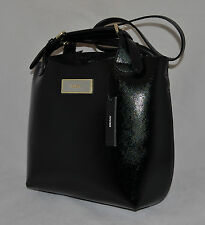 $248 DKNY Shiny Saffiano Leather Bag Purse Handbag Structured Satchel Pouch New