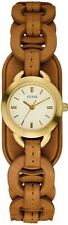 NEW GUESS BROWN,SADDLE,LUGGAGE LEATHER CUFF,BAND+GOLD TONE DIAL WATCH-W70026L1