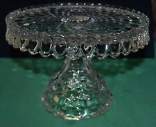 Vintage Fostoria American Cubic Glass Pedestal Cake Stand Plate Rum Well Salver