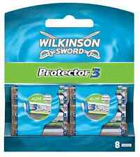 New Genuine Wilkinson Sword Mens Protector 3 Razor Blades - 8 Pack Refill