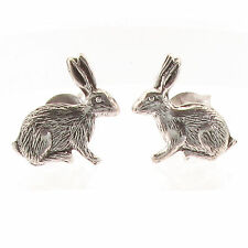 Sterling Silver Stud Earrings - Rabbit / Hare - Post Style, Cute Kids Girls Gift