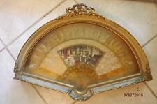 Vintage Victorian Hand Painted Fan Shadow Frame Box Parlor Gilded Concert Scene