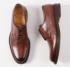 NIB $995 SANTONI FATTE A MANO Double-Soled Antique Brown Blucher 6 D Shoes