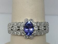 14K WHITE GOLD GENUINE TANZANITE & DIAMOND LADIES RING SIZE 7