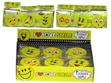 2 x Radiergummi Love Smiley 4,5cm Eraser Radierer mit Gesicht für Kinder Schule
