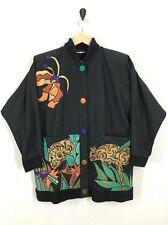Vintage Women's Silkscapes Colorful Silk Applique Leopard Print Jacket