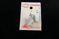 Sterling Silver Charm Sunburst  Maple Leaf  925 Traditional New on card
