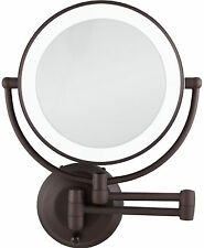 Zadro 1X-10X Cordless LED Lighted Wall Mount MakeUp Mirror LEDW810 Bronze NEW