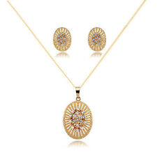 Fashion Women Crystal Pendant Necklace Earrings Set 18K Gold Plated Jewelry Sets