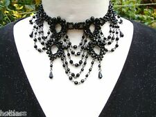 Black Bead Drop Burlesque Moulin  Party Chain Loop Link Choker Necklace