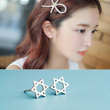 1 Pair Hollow Star Earrings Six-pointed Star Silver Ear Studs Jewelry Decoration