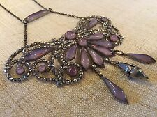 AMAZING ANTIQUE Georgian RIVETED STEEL CUT Purple Necklace Rare French