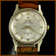 VINTAGE OMEGA CONSTELLATION PIE PAN 167005 14K GOLD TOP SS BACK AUTO MENS WATCH