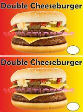 2 double cheesburger autocollants pour cafe catering remorque hot dog van