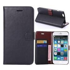 For iPhone 6 Plus/6s Plus Black Genuine Real Leather Business Wallet Case Cover