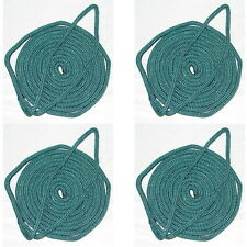 4 Pack of 3/8 x 20 Ft Forest Green Double Braid Nylon Mooring and Docking Lines
