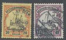 GERMAN EAST AFRICA 1905 YACHT 20H AND 45H NO WMK
