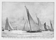 First Race of the Royal Thames Yacht Club; Iverna and Meteor -Antique Print 1892
