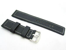 HNS 24MM BLACK GENUINE LEATHER WATCH STRAP NYLON COVER WITH WHITE LINE
