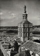 1927 Vintage FRANCE Avignon Church Statue River Architecture Photo Art HURLIMANN