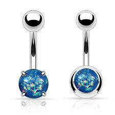 Set of 2 14G Created-Opal Navel Belly Button Rings Body Piercing Jewelry