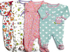 4 Girls Kid Clothes Long Sleeve Footed Cotton Pajamas Pjs Sleepware Sz 3 Months
