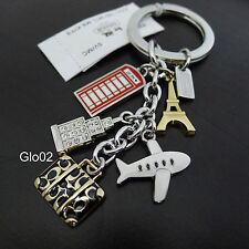 NWT Coach World Travel Case Jet/NYC/Paris/UK/Multi Mix Charm Keychain Key FOB