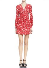 NWT  $2990 YSL SAINT LAURENT Silk Long-Sleeve, V-Neck, Red Polka Dot Dress 42/12