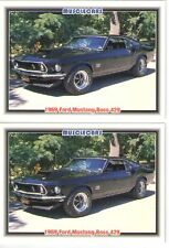 1969 Ford Mustang Boss 429 baseball card sized cards - Must See! - lot of 2