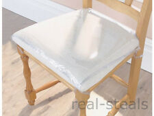 4 x STRONG DINING CHAIR PROTECTORS CLEAR PLASTIC CUSHION SEAT COVERS PROTECTION