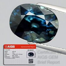 BIG VERY RARE! AIGS CERTIFIED 6.67ct Oval Natural UNHEATED Blue-Green SAPPHIRE