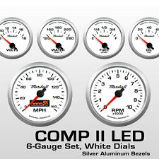 C2 6 Gauge Set, White Dials, Silver Bezels, Programmable Speedo, All Electric