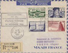 LETTRE PAR AVION 1ere LIAISON AERIENNE PARIS POUR TOKYO JAPON RECOMMANDE 1952