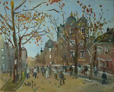 Jozsef BANFI (Ricse 1936 - ) Street with trees - Hungarian city