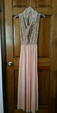GLYDONS of HOLLYWOOD VTG Nightgown Gown Lingerie Peach Ivory Lace LARGE L LG